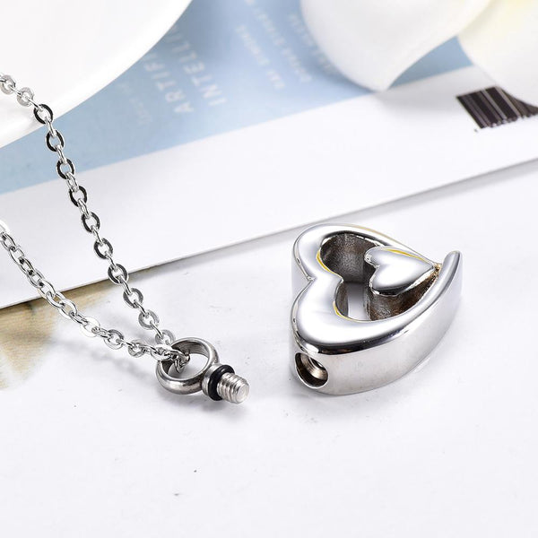 Cremation Necklace - Silver Double Heart Cremation Urn Necklace