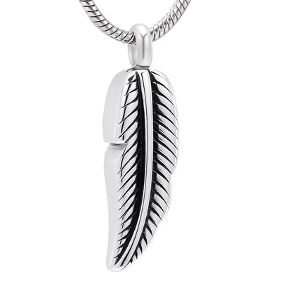 Cremation Necklace - Silver Feather Shaped Cremation Urn Necklace