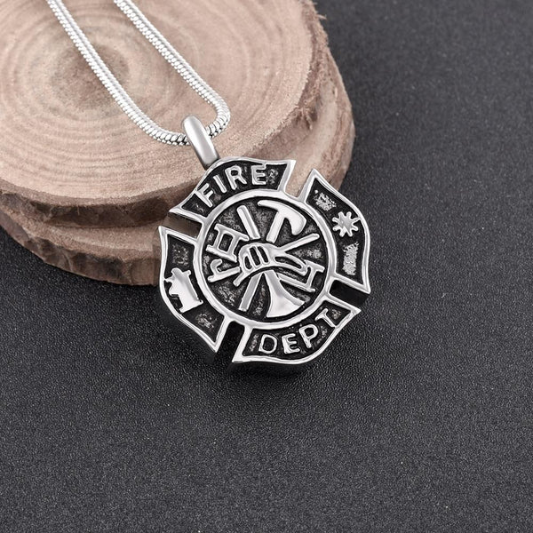 Cremation Necklace - Silver Fire Department Firefighter Symbol Cremation Urn Necklace