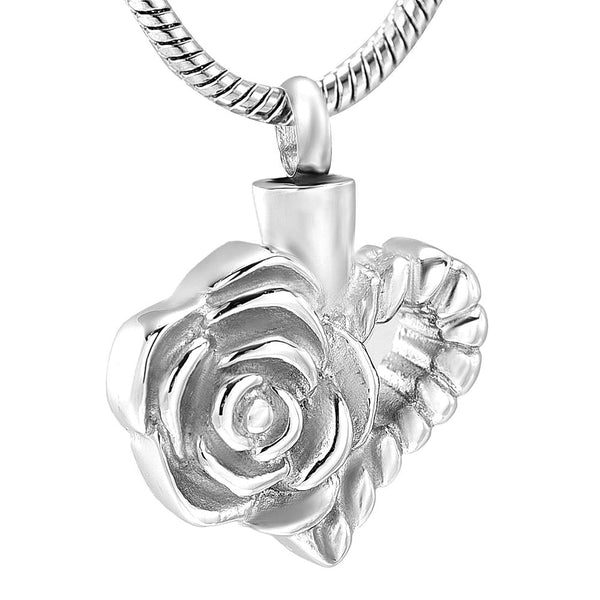 Cremation Necklace - Silver Floral Heart Cremation Urn Necklace
