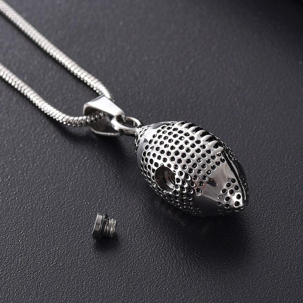 Cremation Necklace - Silver Football Cremation Urn Necklace