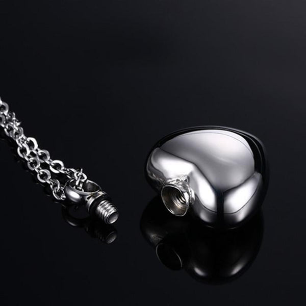 Cremation Necklace - Silver Heart Cremation Necklace Pendant