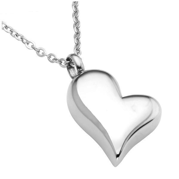 Cremation Necklace - Silver Heart Cremation Urn Necklace