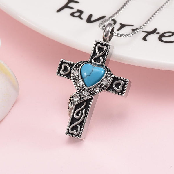 Cremation Necklace - Silver Heart Cross With Turquoise Heart Center Cremation Urn Necklace