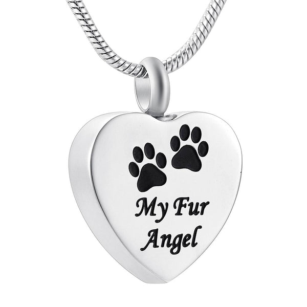 Cremation Necklace - Silver Heart My Fur Angel & Paws Cremation Urn Necklace
