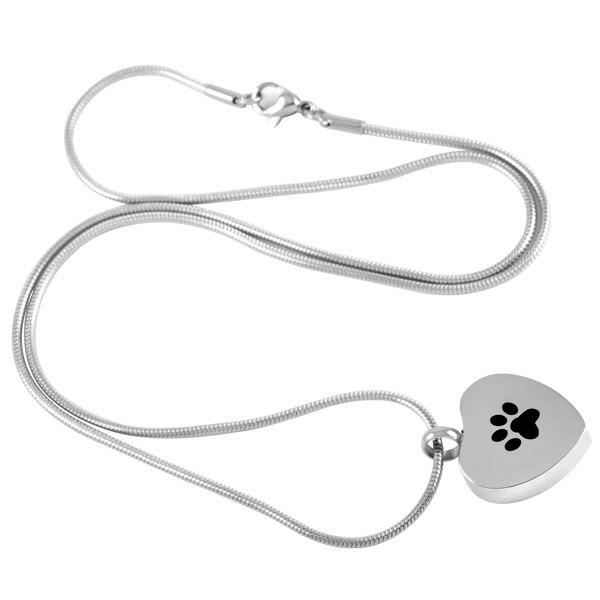 Cremation Necklace - Silver Heart Paw Print Cremation Urn Necklace