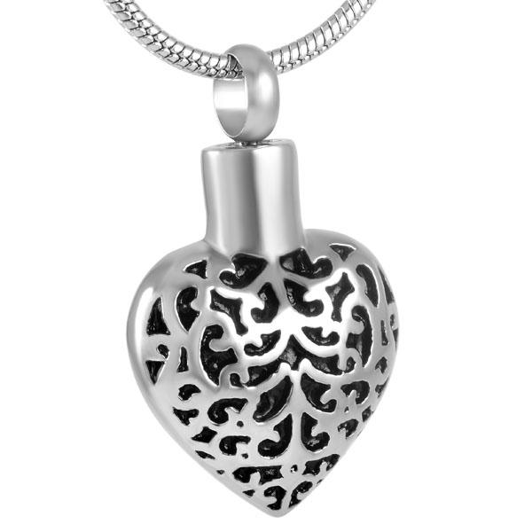 Cremation Necklace - Silver Heart Shaped Cremation Urn Necklace