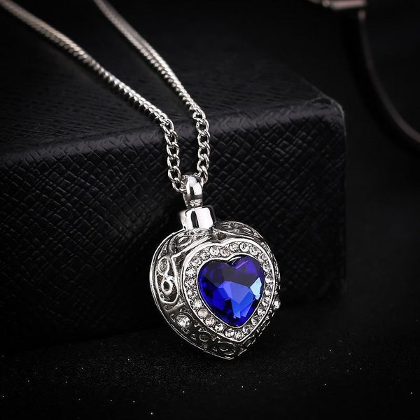 Cremation Necklace - Silver Heart Shaped Cremation Urn Necklace With Rhinestones And Blue Gem