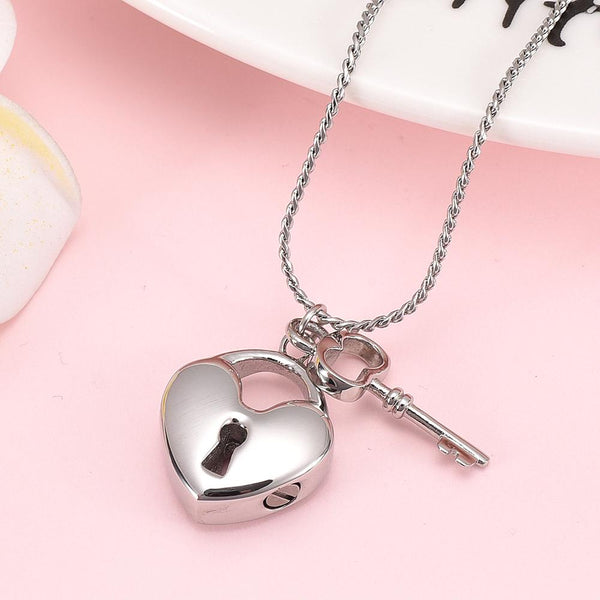 Cremation Necklace - Silver Heart Shaped Lock & Key Charm Cremation Urn Necklace