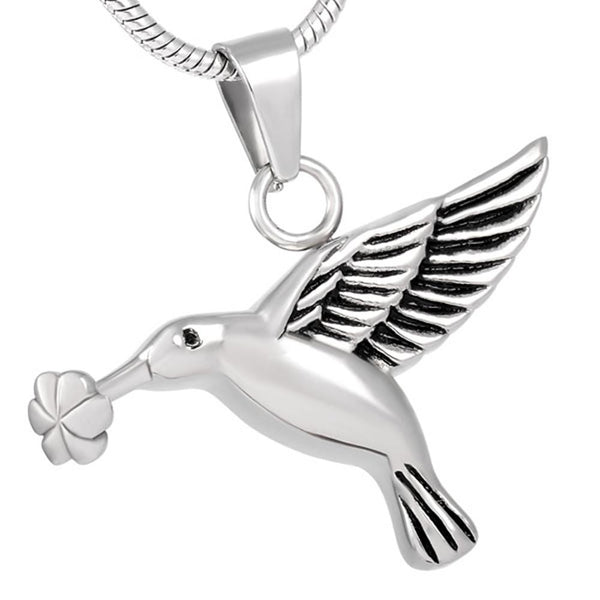 Cremation Necklace - Silver Hummingbird Cremation Urn Necklace