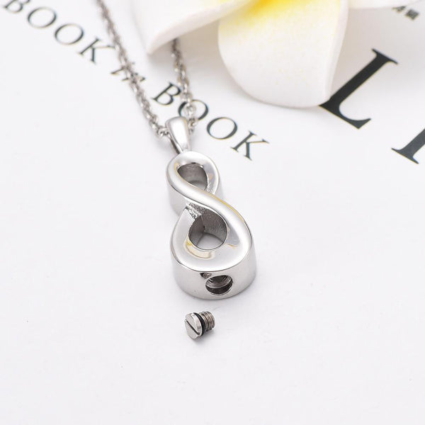 Cremation Necklace - Silver Infinity Teardrop Shaped Cremation Urn Necklace
