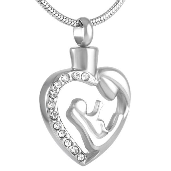 Cremation Necklace - Silver Mother And Child Cremation Urn Necklace With Rhinestone Heart