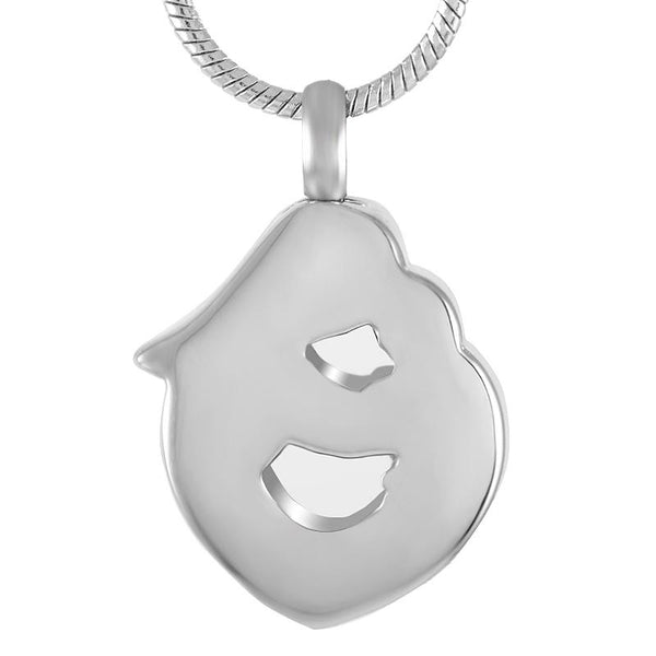 Cremation Necklace - Silver Mother & Child Heart Shaped Cremation Urn Necklace With Rhinestones