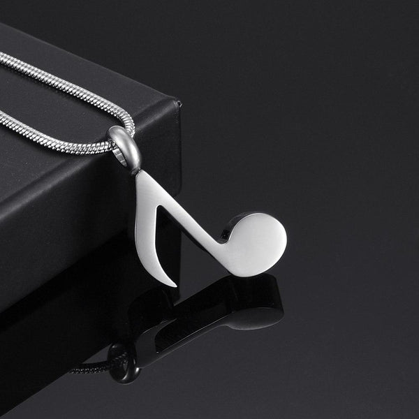 Cremation Necklace - Silver Musical 8th Note Cremation Urn Necklace