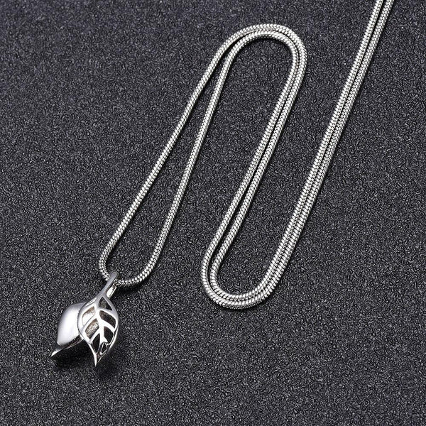 Cremation Necklace - Silver Olive Leaves Cremation Cremation Urn Necklace