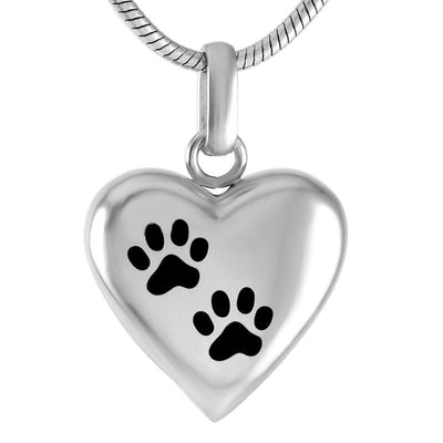 Cremation Necklace - Silver Paw Heart Shaped Cremation Urn Necklace