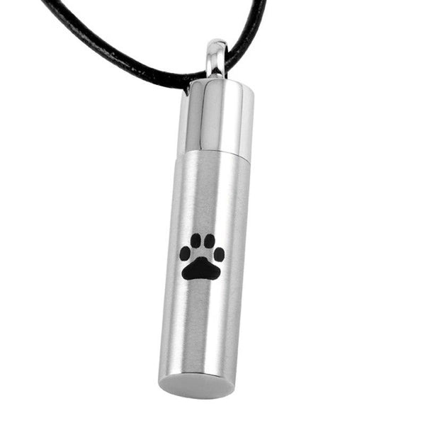 Cremation Necklace - Silver Pendant With Paw Print Cremation Urn Necklace
