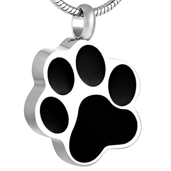 Cremation Necklace - Silver Pet Paw Footprint Cremation Necklace