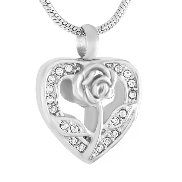 Cremation Necklace - Silver Rhinestone Heart & Rose Flower Cremation Urn Necklace