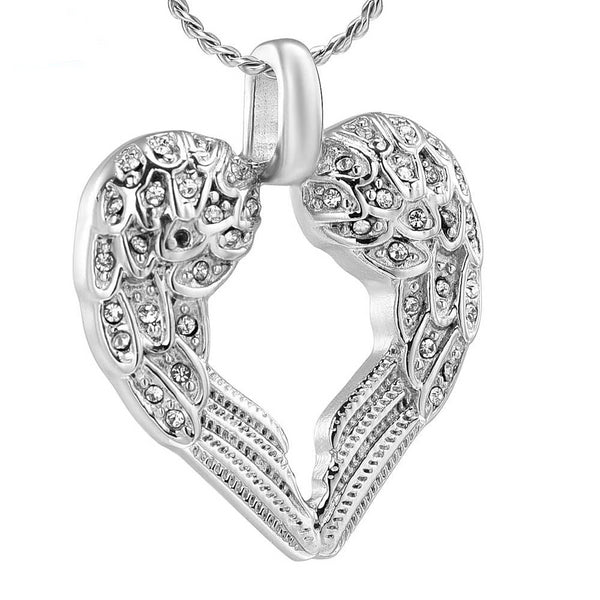 Cremation Necklace - Silver & Rhinestone Heart Shaped Angel Wings Cremation Urn Necklace