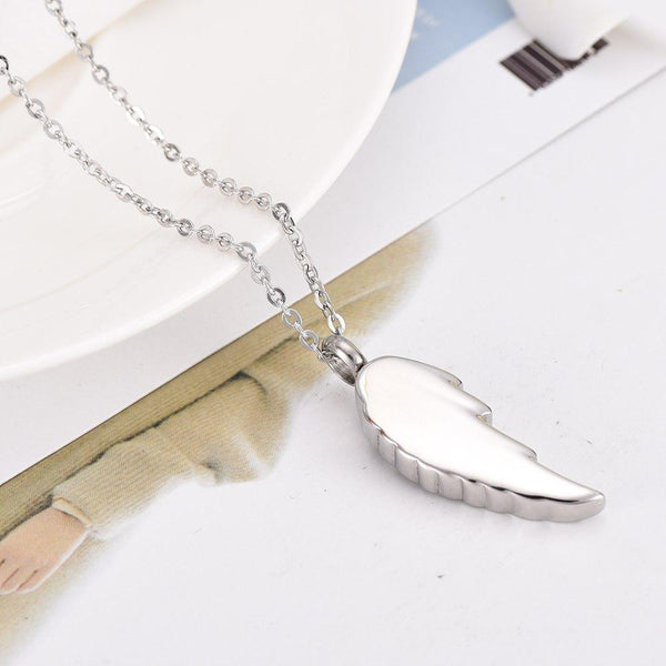 Cremation Necklace - Silver Rose & Angel Wing Cremation Urn Necklace