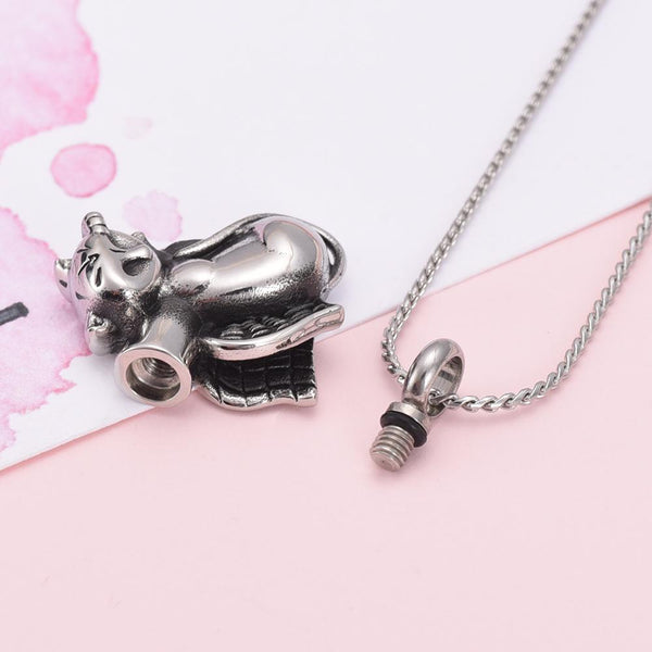 Cremation Necklace - Silver Sleeping Cat Angel Cremation Urn Necklace