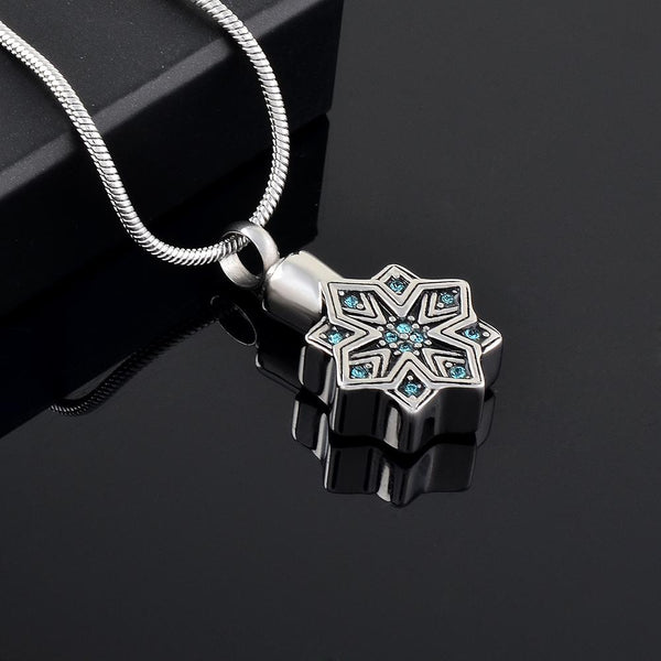 Cremation Necklace - Silver Snowflake Cremation Urn Necklace With Rhinestones