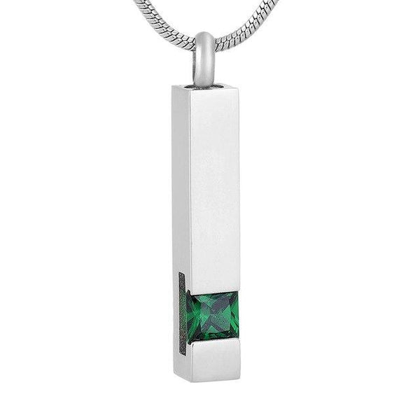 Cremation Necklace - Silver Square Column With Rhinestone Cremation Urn Necklace