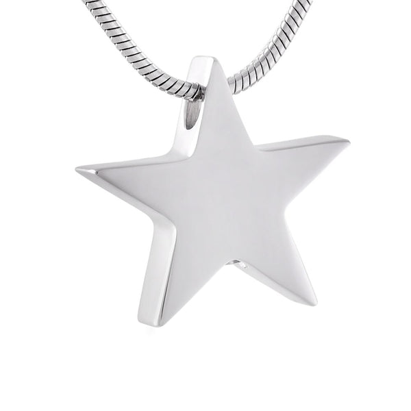 Cremation Necklace - Silver Star Cremation Urn Necklace