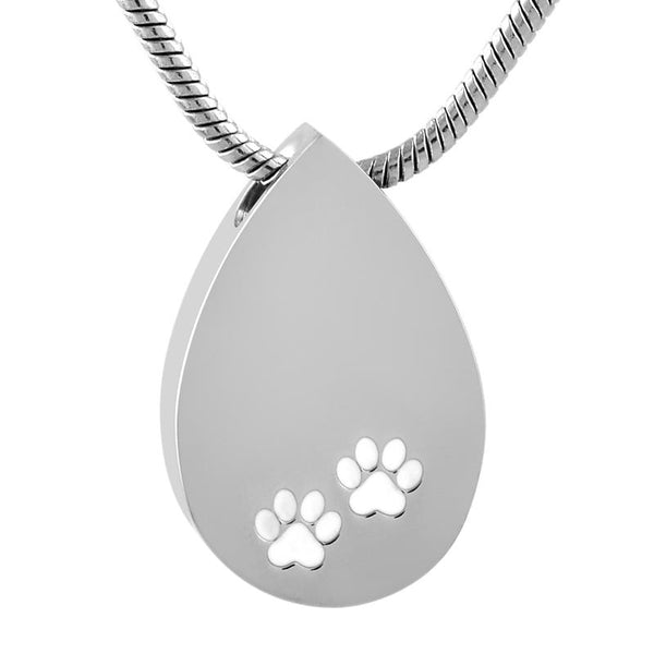 Cremation Necklace - Silver Teardrop Pet Cremation Urn Necklace With Paw Prints