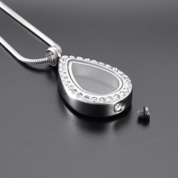 Cremation Necklace - Silver Teardrop With Rhinestones Cremation Urn Necklace