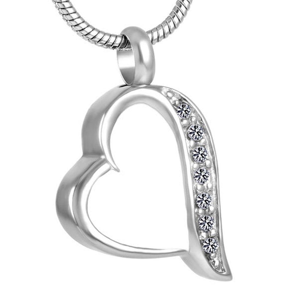 Cremation Necklace - Silver & White Heart Shaped Cremation Urn Necklace With Rhinestones