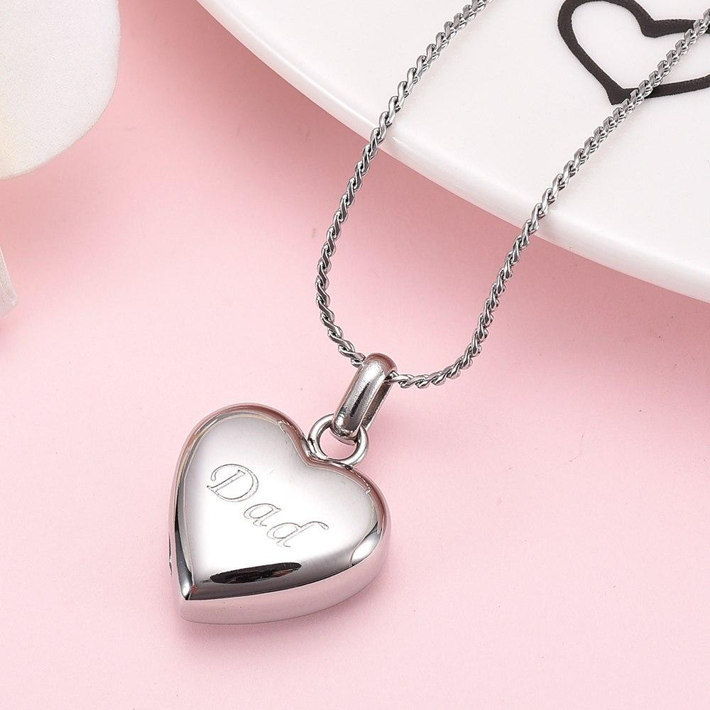 Simple Heart Cremation Urn Necklace Etched With Dad Cherished Emblems