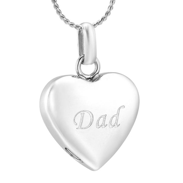 Cremation Necklace - Simple Heart Cremation Urn Necklace Etched With Dad