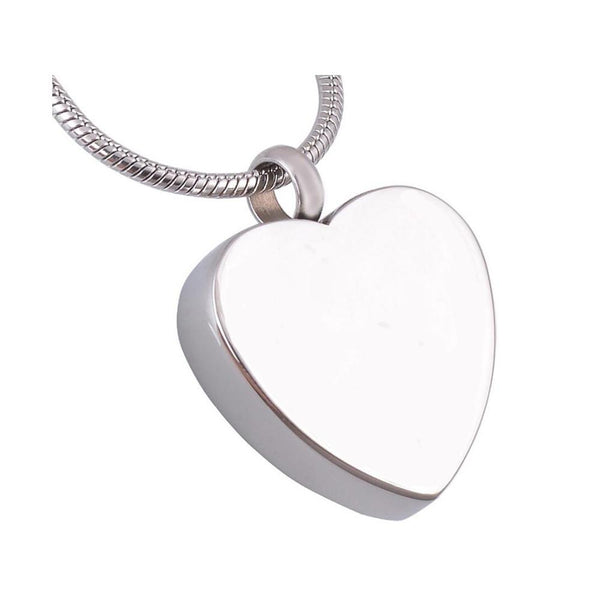 Cremation Necklace - Simple Heart Shaped Cremation Urn Necklace