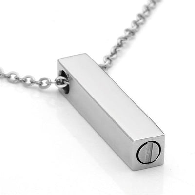 Cremation Necklace - Simple Silver Column Cremation Urn Pendant Necklace