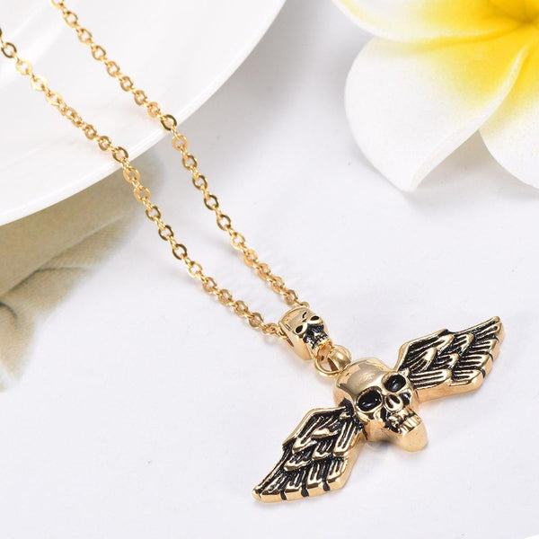 Cremation Necklace - Skull With Wings Cremation Urn Necklace