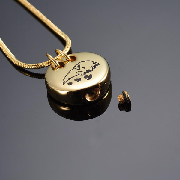 Cremation Necklace - Sleeping Dog Cremation Urn Necklace