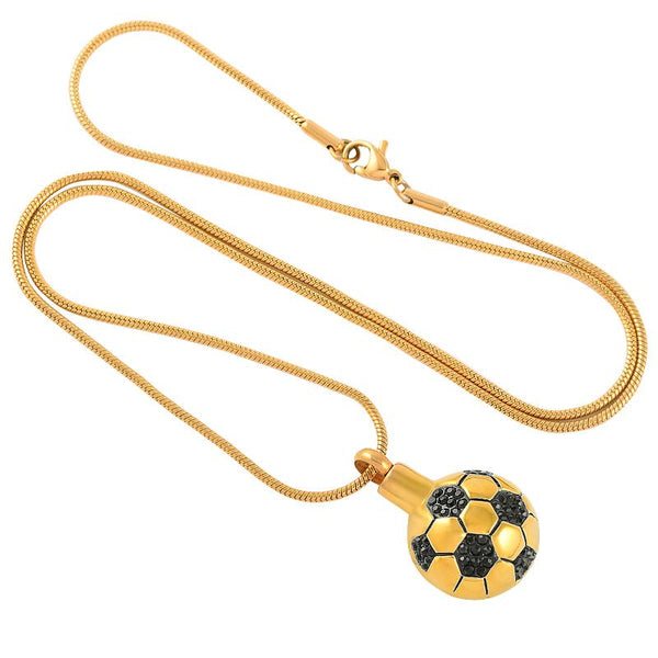 Cremation Necklace - Soccer Ball Style Cremation Urn Necklace With Black Rhinestones