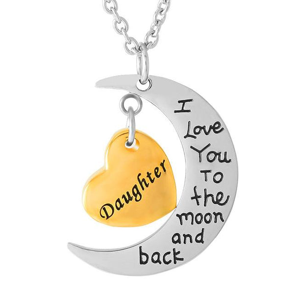 Cremation Necklace - Son/Daughter Crescent Moon & Heart Charm Cremation Urn Necklace
