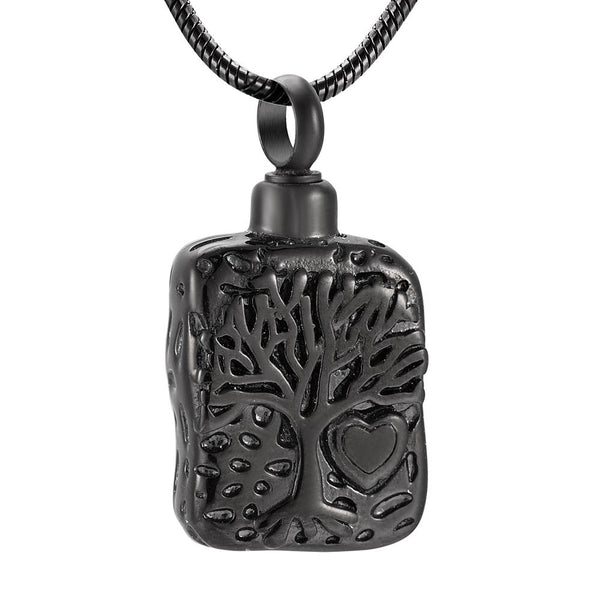 Cremation Necklace - Square Tree Of Life Cremation Urn Necklace