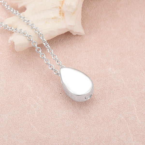 Cremation Necklace - Sterling Silver Teardrop Cremation Urn Necklace