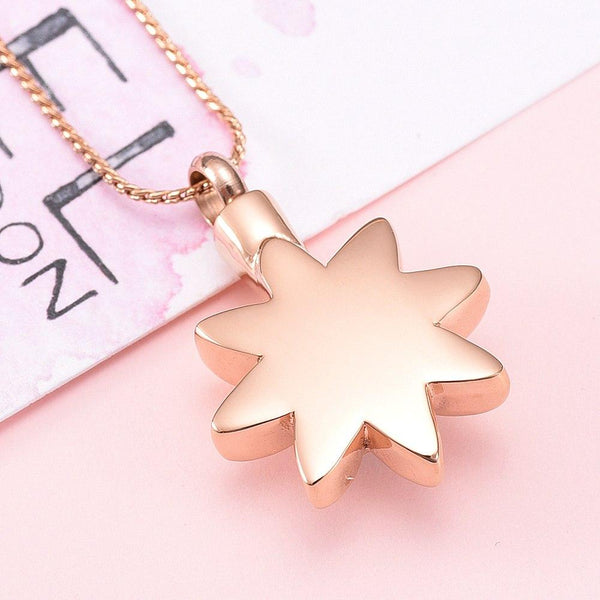 Cremation Necklace - Sun Star With Rhinestone Inlay Cremation Urn Necklace