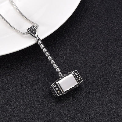 Cremation Necklace - Thor's Hammer Cremation Urn Necklace