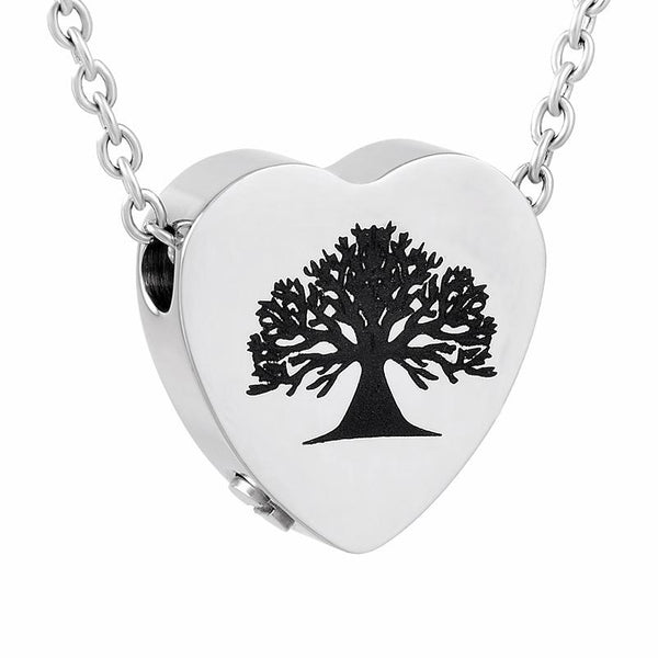 Cremation Necklace - Tree Of Life Inside A Heart Cremation Urn Necklace