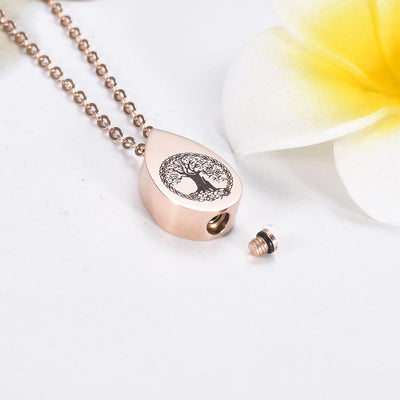 Cremation Necklace - Tree Of Life Teardrop Cremation Urn Necklace