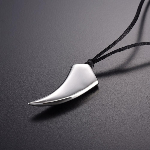 Cremation Necklace - Tusk Tooth Silver Cremation Urn Necklace