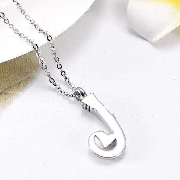 Cremation Necklace - Unique Silver Fish Hook Cremation Urn Necklace