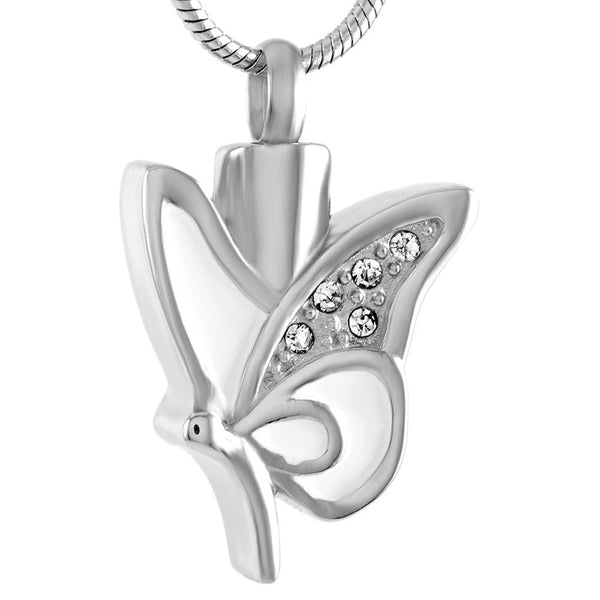 Cremation Necklace - White Butterfly With Rhinestones Cremation Urn Necklace