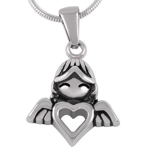 Cremation Necklace - Winged Angel Girl With Heart Cremation Urn Necklace